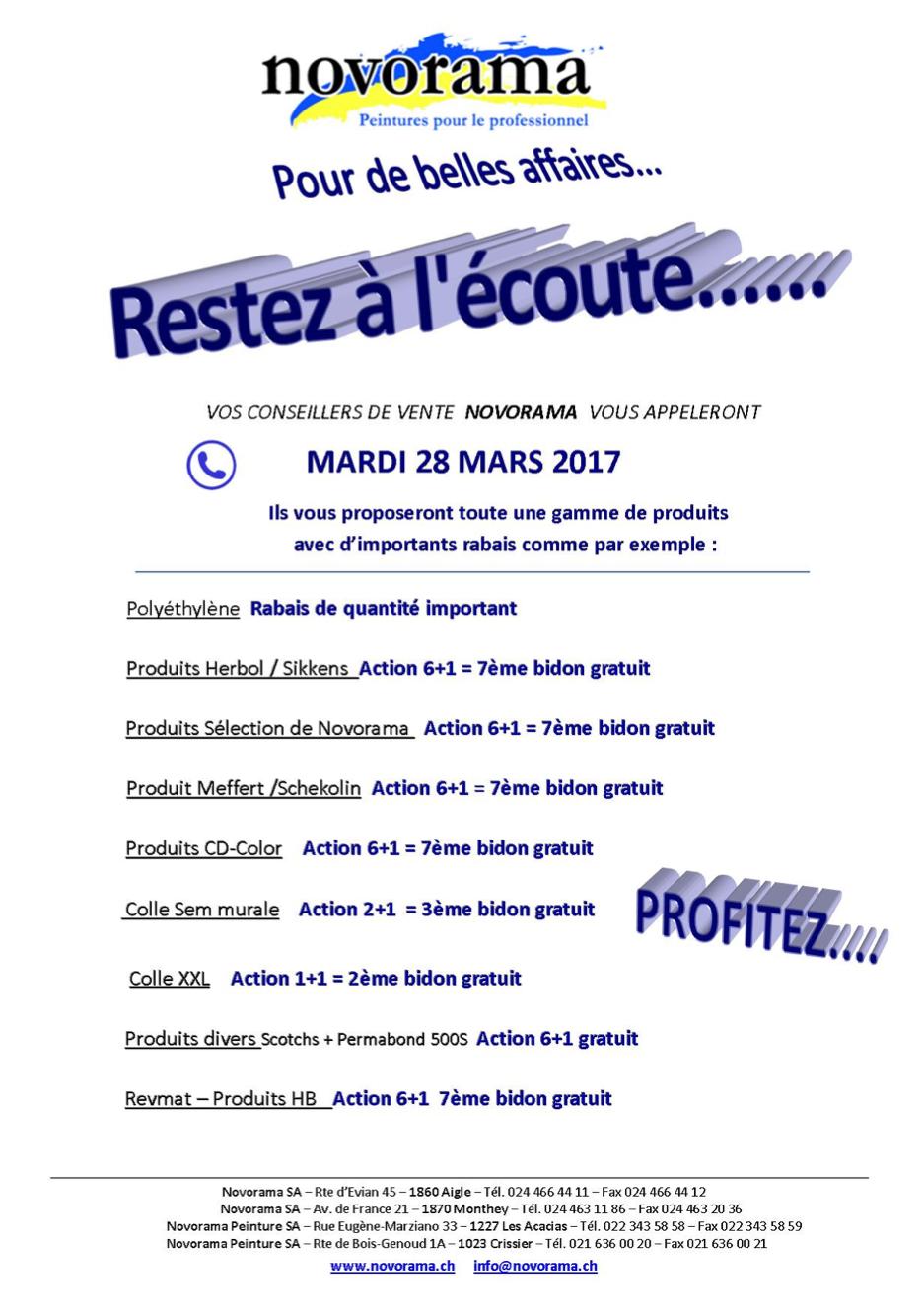 Téléventes mars 2017